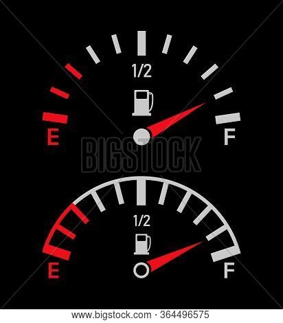 Gauge Of Fuel. Guage Of Gas, Petrol. Full Or Empty Tank Of Gasoline Or Diesel In Car. Indicators Wit