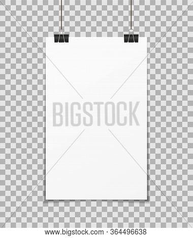 Hang Poster. A3, A4 Mockup On Wall. Blank Paper With Clamp. White Banner, Background For Presentatio