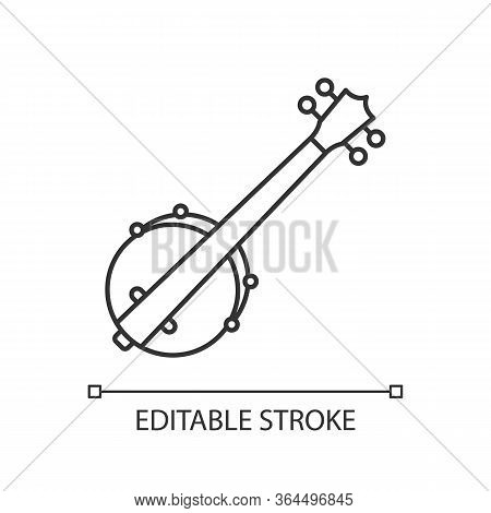 Banjo Pixel Perfect Linear Icon. Traditional Western Musical Instrument. American Jazz Concert. Thin