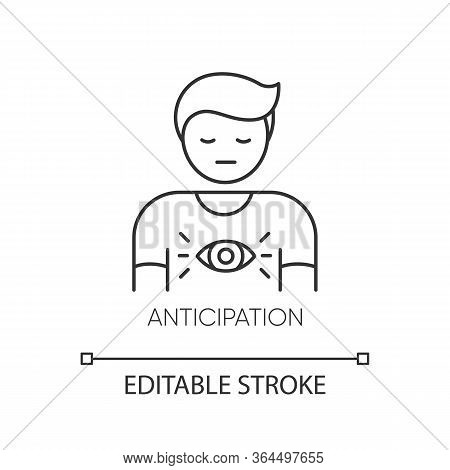 Anticipation Pixel Perfect Linear Icon. Man Expecting Future. Person With Intuitive Prediction. Thin