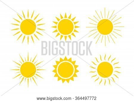 Sun Logos. Icons Of Sunrise, Sunset With Sunbursts. Cute Drawing Of Sunshine For Kids. Happy Spring,