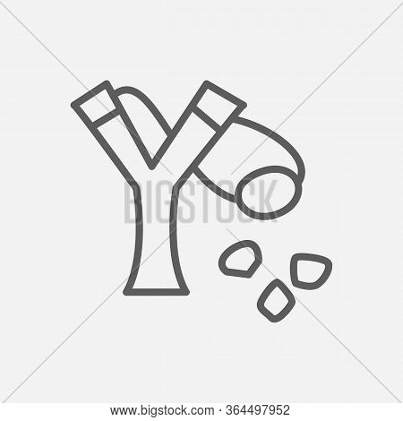 Slingshot Icon Line Symbol. Isolated Vector Illustration Of Icon Sign Concept For Your Web Site Mobi