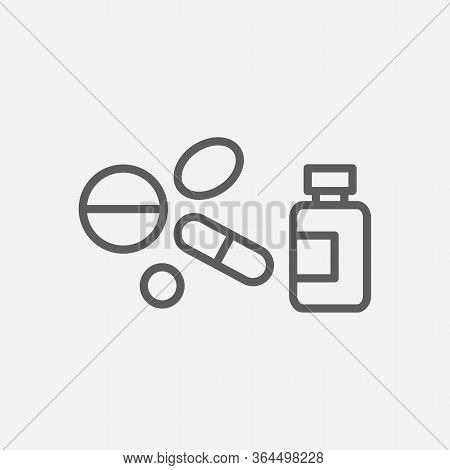 Meds Icon Line Symbol. Isolated Vector Illustration Of Icon Sign Concept For Your Web Site Mobile Ap