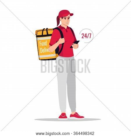 24h Order Delivery Semi Flat Rgb Color Vector Illustration. Around Clock Shipment Of Packages. Cauca