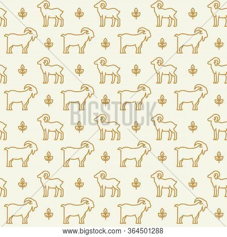 Farm Animals Icons Pattern. Farming, Livestock Seamless Background. Seamless Pattern Vector Illustra