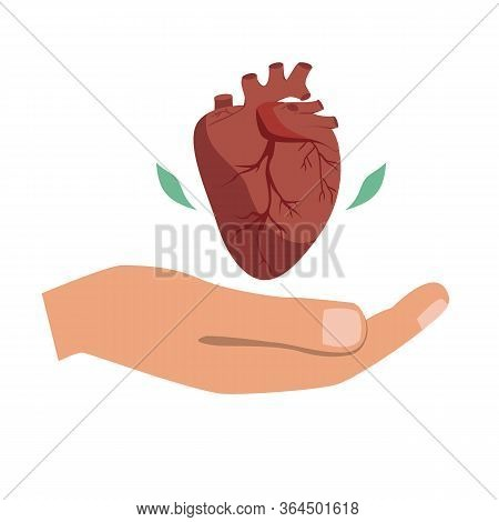 Heart Donation Vector. Giving Hand With Heart Symbol. The Bioengineering Technologies For Creating V