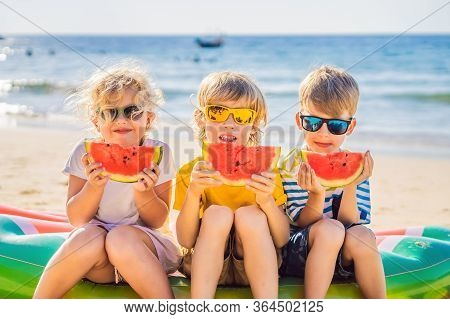Coronavirus Is Over. Quarantine Weakened. Take Off The Mask. Now You Travel. Children Eat Watermelon