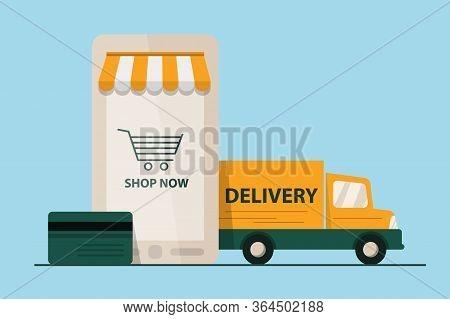E-commerce Concept. Smartphone E-marketing, App Store, Delivery Van. Flat Design Style Modern Vector