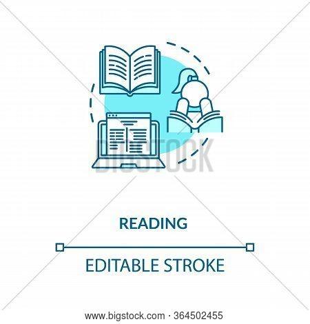 Reading Concept Icon. Personal Improvement, Self Development Idea Thin Line Illustration. Literature