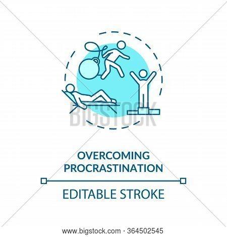 Overcoming Procrastination Concept Icon. Self Discipline, Motivation Idea Thin Line Illustration. In
