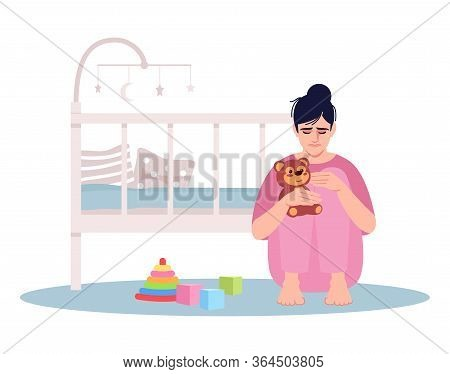 Crying Young Mother Semi Flat Rgb Color Vector Illustration. Woman Lost Child Isolated Cartoon Chara