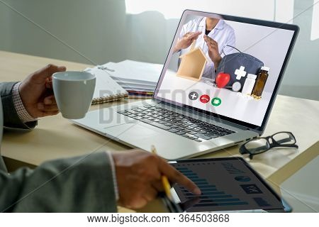 Online Consultation Telemedicine To Medicine  Man Stayhome Video Call With Her Doctor Healthcare Cor