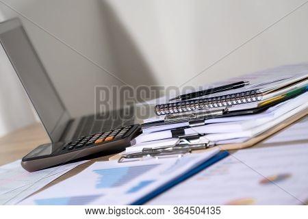 Businessman Working Reading Documents Graph Financial To Job Succes Analyze Document Plans