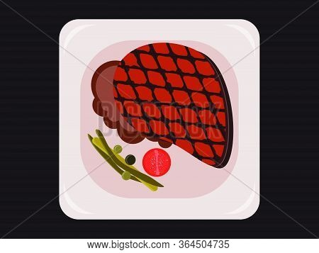 Bbq Steak, Grilled Meat Top View. Roast Beef. Steak With Vegetables On A Dish. Vector Illustration