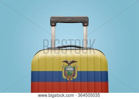 Suitcase With Ecuadorian Flag Design Travel South America Concept.