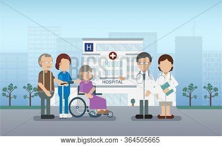 Elder Care Concept With Medical Staffs Take Care Of Elder Patient Vector Illustration