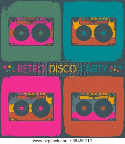 Retro disco party invitation in pop-art style. Vector, EPS8
