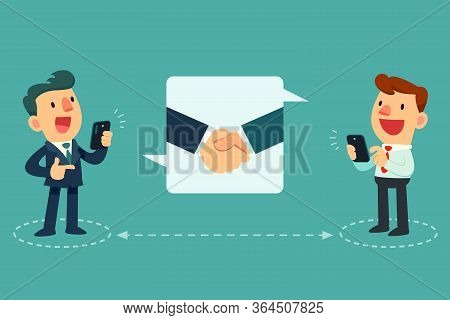 Business People Using Smart Phone To Make Business Agreement While Standing Apart. Social Distancing
