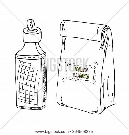 Lunch Box And A Bottle Hand Drawn Sketch. Keep Calm And Have Lunch Vector Illustration