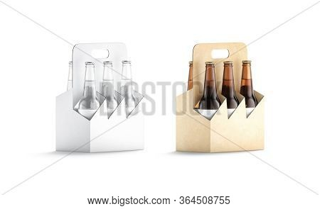 Blank Craft And White Glass Beer Bottle Cardboard Holder Mockup, 3d Rendering. Empty Carton Packagin