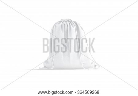 Blank White Drawstring Backpack Mock Up, Front View, 3d Rendering. Empty Cotton Or Linen Back Pack M