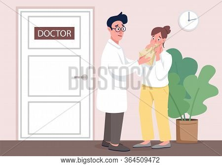 Doctor With Patient Flat Concept Vector Illustration