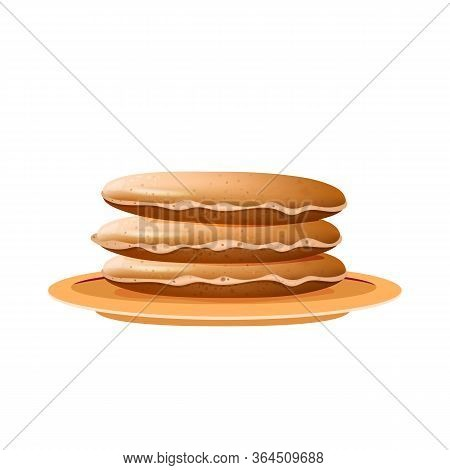 Pancakes Stack On Beige Plate Realistic Vector Illustration