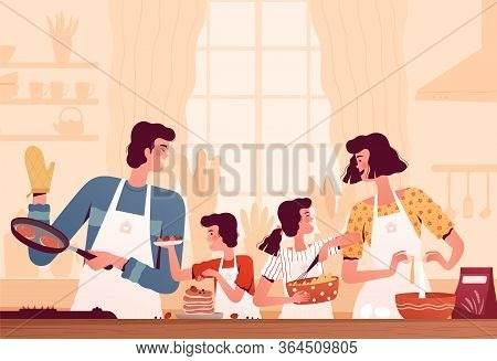 Happy Family Cooks Pancakes In The Kitchen. Mom, Dad, Son And Daughter Are Cooking Together. Parents