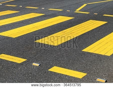 Pedestrian Crossing Floor Lines Crossing Empty Place Pedestrians Can Cross A Street