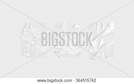 Blank Transparent Plastic Foil Wrap Overlay Mockup, Gray Background, 3d Rendering. Empty Crushed Tra