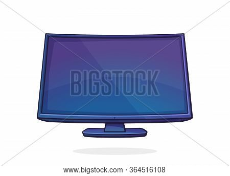 Vector Illustration. Modern Digital Smart Tv With Full Ultra Hd Display. Television Box With Lcd Or