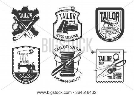 Sewing Icons, Tailor Shop Needle Ans Sewing Machine, Vector Tailoring And Dressmaker Atelier Labels.
