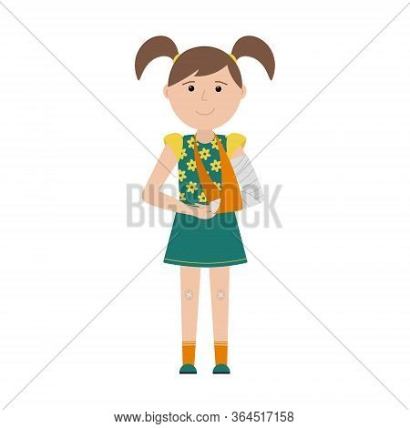 A Girl With Ponytails With A Broken Arm And A Band-aid On Her Knees Stands And Smiles. The Arm Is Ba