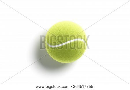 Blank Green Tennis Ball Mockup, Top View, 3d Rendering. Empty Sporty Fuzz Bal For Court Tenis Player