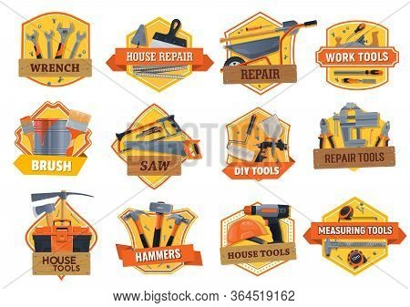 Work Tools Construction, House Repair, Building And Renovation Diy Toolbox, Vector Icons. Home Remod