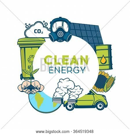 Waste Recycling And Clean Energy, Green Eco Environment, Save Ecology Vector Poster. Garbage Recycli