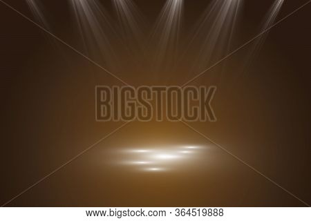 Collection Of Stage Lighting, Catwalk Or Platform, Transparent Effects. Bright Lighting With Spotlig