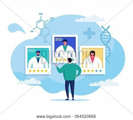 Online Medicine Concept Vector Illustration. Cartoon Flat Doctor Team Advising Man Patient Character