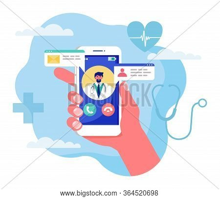 Online Medicine Concept Vector Illustration. Cartoon Flat Human Hand Holding Smartphone With Video C
