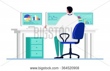 Scientist People In Innovation Laboratory Vector Illustration. Cartoon Flat Doctor Character Working