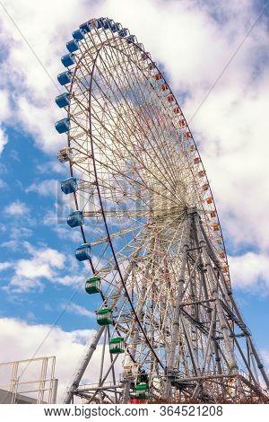 Osaka / Japan - December 25, 2017: Tempozan Ferris Wheel In Osaka, Japan, Next To Osaka Aquarium Kai