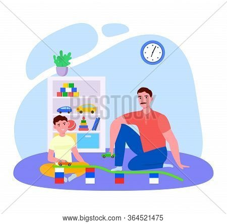 Father Time With Son Vector Illustration. Cartoon Flat Daddy Character Playing Fun Car Toys Together