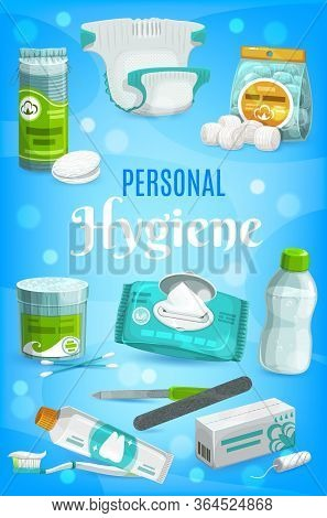 Hygiene Items And Personal Care Products, Vector Bathroom Soap, Toothpaste And Toothbrush. Hygienic