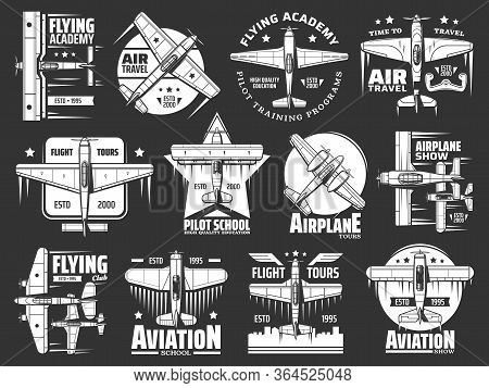 Aviation School And Academy Icons, Aircraft And Airplane, Pilots And Flight Aviators Vector Retro Ba