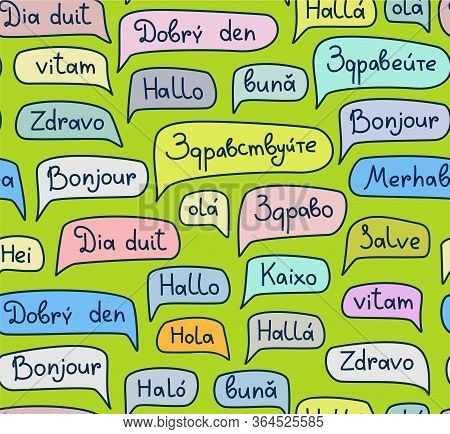 Hello, European Languages, Seamless Pattern, Contour Drawing, Green, Color, Vector. The Word