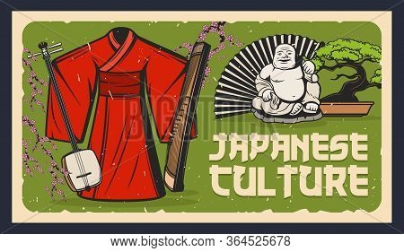 Japan, Bonsai, Netsuke And Kimono, Shamisen And Geisha Vector Retro Poster. Japanese Culture And Tra
