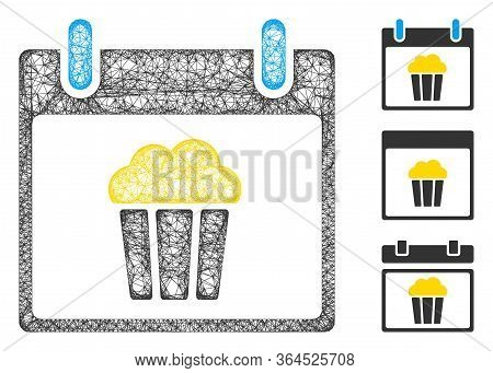 Mesh Popcorn Calendar Day Polygonal Web Icon Vector Illustration. Model Is Created From Popcorn Cale