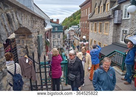 Quebec City, Canada September 23, 2018: The Streets Of The Historic Quebec City, Rue Petit Champlain