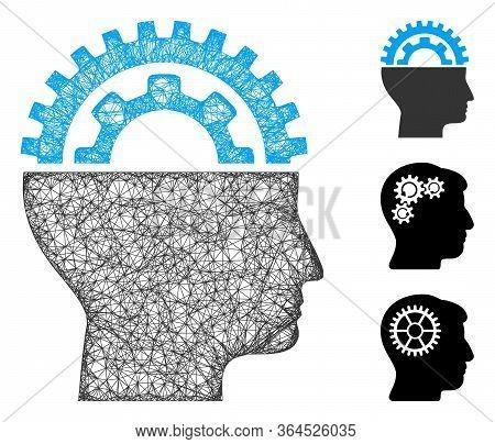 Mesh Gear Engineer Polygonal Web Icon Vector Illustration. Carcass Model Is Based On Gear Engineer F