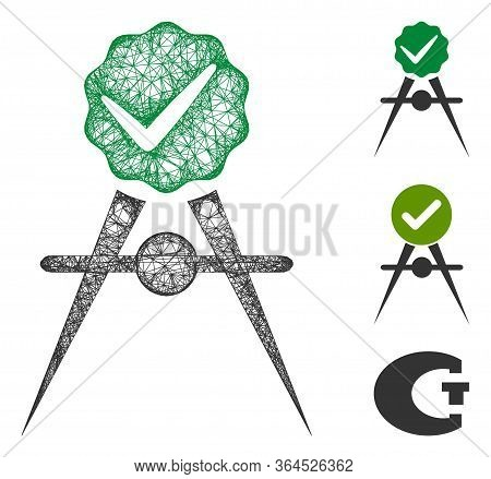 Mesh Quality Control Meter Polygonal Web Icon Vector Illustration. Carcass Model Is Based On Quality